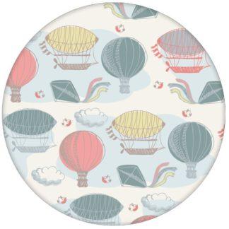 """""""Luftschlösser"""" - Traumhafte Design Tapete mit Drachen, Heißluftballons und Wolken bunte Wandgestaltung Vliestapete"""