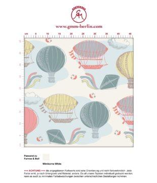 """""""Luftschlösser"""" - Traumhafte Tapete mit Drachen, Heißluftballons und Wolken in bunt angepasst an Farrow and Ball Wandfarben- Vliestapete Figuren"""