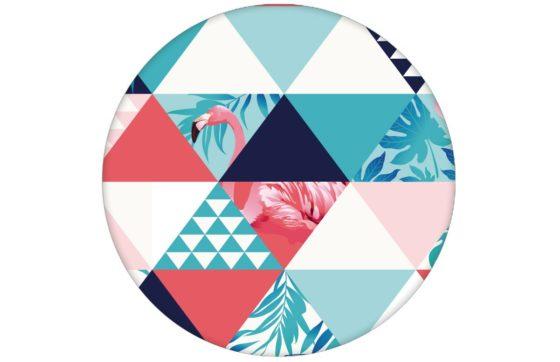 """Exotische moderne Tapete """"Flamingo Puzzle"""" mit grafischen Dreiecken in blau Vliestapete Design"""