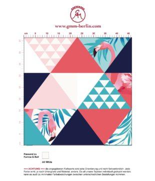 """Exotische moderne Tapete """"Flamingo Puzzle"""" mit grafischen Dreiecken in blau angepasst an Farrow and Ball Wandfarben- Vliestapete Grafisch"""
