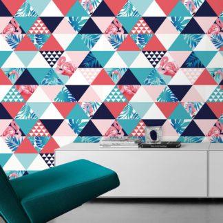 """Wandtapete rosa: Exotische moderne Tapete """"Flamingo Puzzle"""" mit grafischen Dreiecken in blau angepasst an Farrow and Ball Wandfarben- Vliestapete Grafisch"""