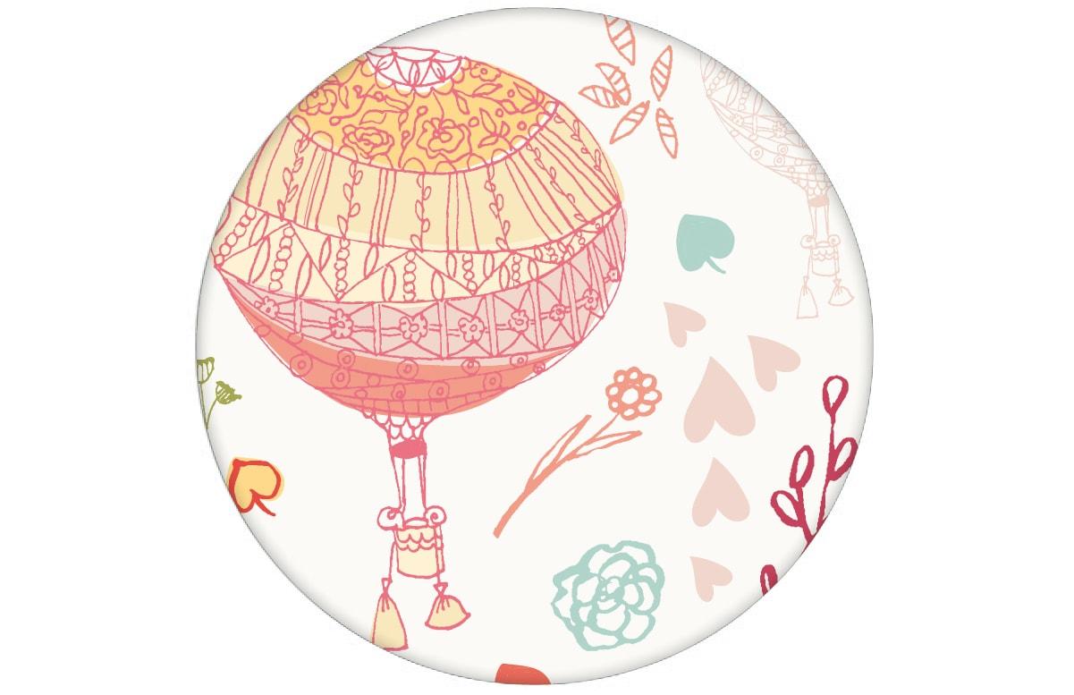 sch ne nostalgische tapete im traumland mit hei luftballons in t rkis rosa angepasst an. Black Bedroom Furniture Sets. Home Design Ideas