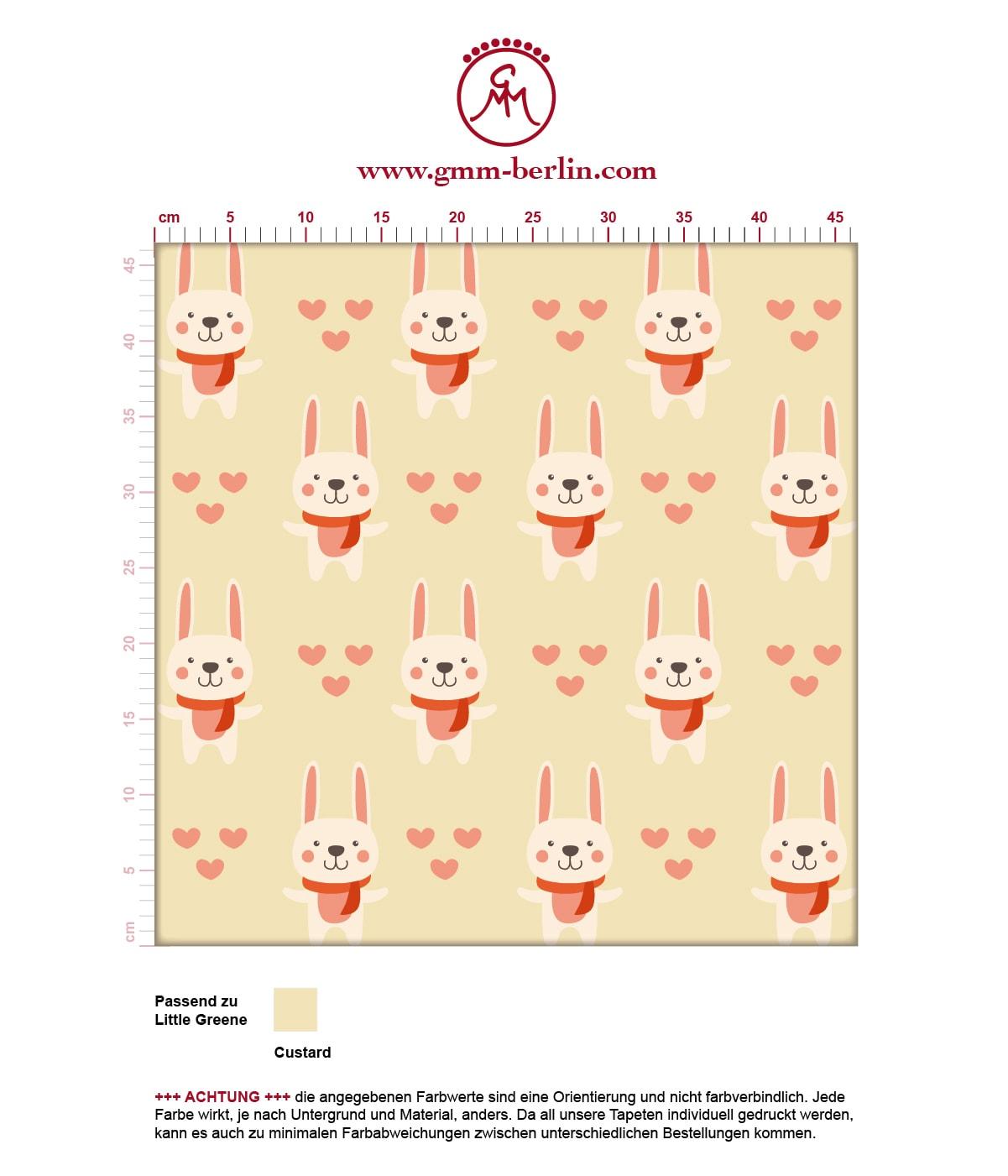 """""""Häschen Klein"""" Niedliche Kinder Jugend Tapete mit Hasen und Herzen auf gelb angepasst an Little Greene Wandfarben- Vliestapete Tiere  3"""