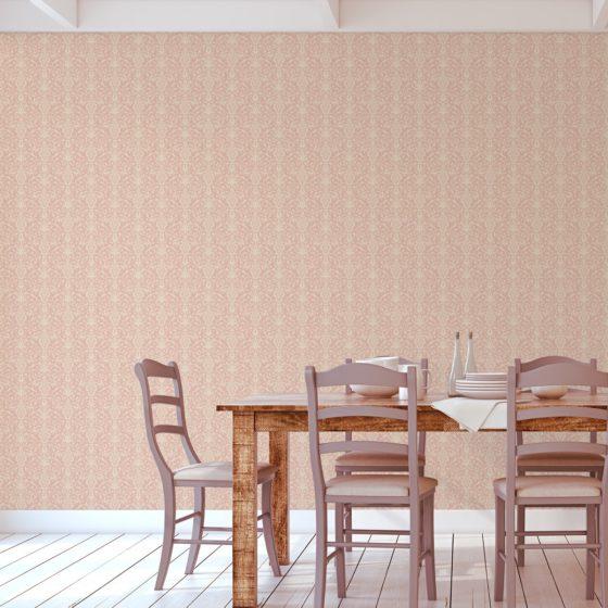Ornamentale Tapete mit klassischem Damast Muster auf rosa angepasst an Little Greene Wandfarben- Vliestapete Ornamente