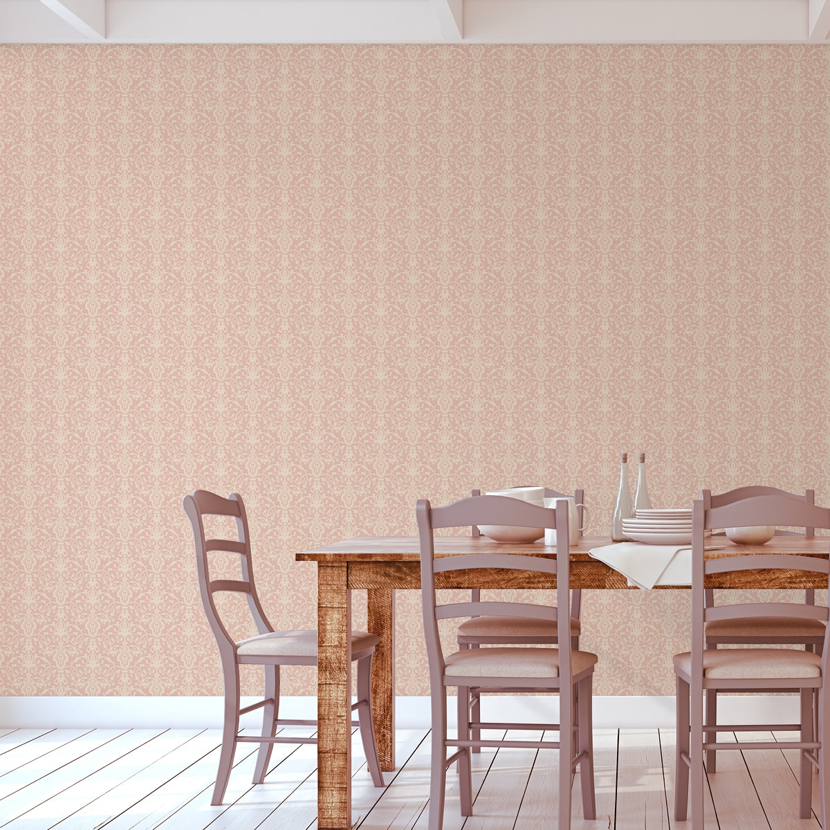 Wandtapete rosa: Ornamentale Tapete mit klassischem Damast Muster auf rosa angepasst an Little Greene Wandfarben- Vliestapete Ornamente