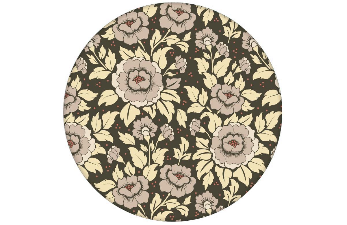 Beige,  florale Tapete