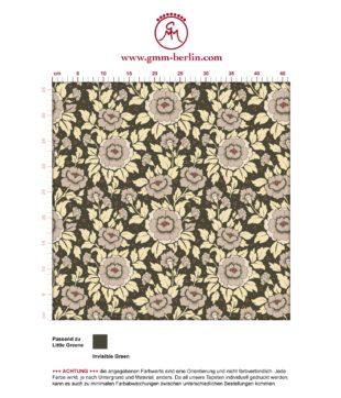 "Beige,  florale Tapete ""Mein Rosengarten"" mit Rosen Blüten angepasst an Little Greene Wandfarben- Vliestapete Blumen"