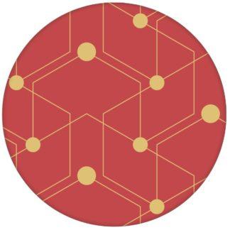 "Grafische Ornament Tapete ""Celestial Dots"" großes Muster in rot moderne Wandgestaltung Vliestapeteaus dem GMM-BERLIN.com Sortiment: gelbe Tapete zur Raumgestaltung: #FarrowandBall #Grafik #gruen #lila #Linien #Little Greene #punkte #tapete für individuelles Interiordesign"