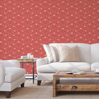 """Grafische Tapete """"Celestial Dots"""" großes Muster in rot angepasst an Little Greene - Vliestapete Grafisch"""