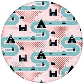 """Rosa , moderne Tapete """"Weltenbummler"""" mit Strassen, Burgen und Pyramiden auf rosa Vliestapete Kinderzimmer aus den Tapeten Neuheiten Exklusive Tapete für schönes Wohnen als Naturaltouch Luxus Vliestapete oder Basic Vliestapete"""