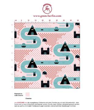 """Designer Tapete """"Weltenbummler"""" großes Muster mit Strassen, Burgen und Pyramiden auf rosa angepasst an Little Greene Wandfarben- Vliestapete Kinder"""
