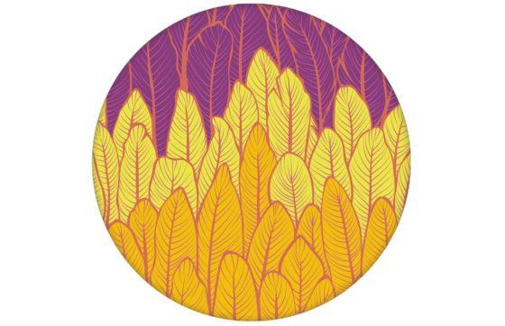 Moderne Streifentapete mit Federn in gelb rosa Vlies Tapete Streifen