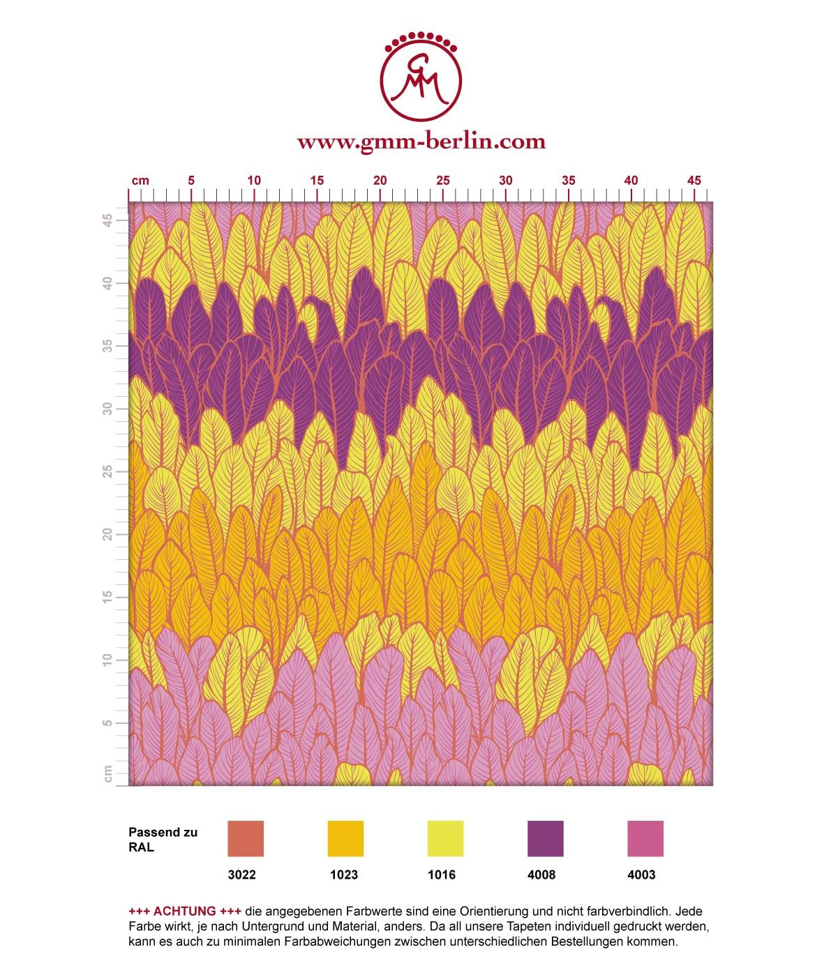 Moderne Streifentapete mit Federn in gelb rosa angepasst an RAL Wandfarben. Aus dem GMM-BERLIN.com Sortiment: Schöne Tapeten in der Farbe: gelb