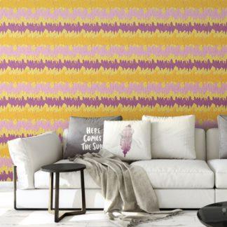 Wandtapete gelb: Moderne Streifentapete mit Federn in gelb rosa angepasst an RAL Wandfarben - Vlies Tapete Streifen