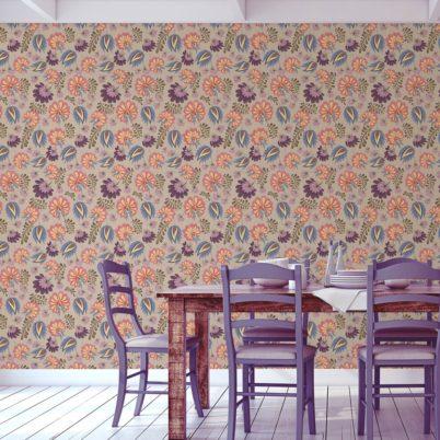 Florale Tapete mit großen Blüten auf beige angepasst an Schöner Wohnen Wandfarbe Melone - Vliestapete Blumen