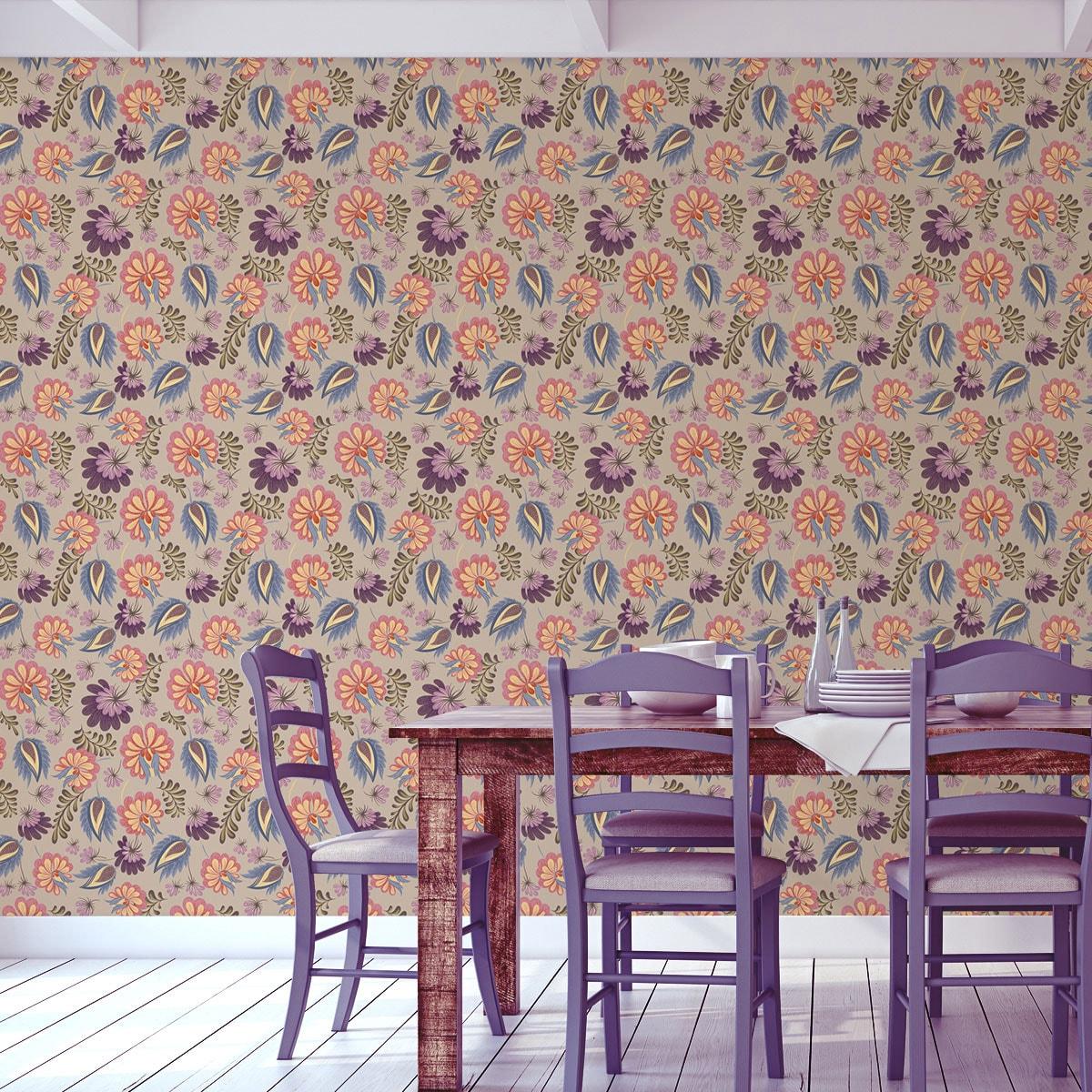 Wandtapete creme: Florale Tapete mit großen Blüten auf beige angepasst an Schöner Wohnen Wandfarbe Melone - Vliestapete Blumen