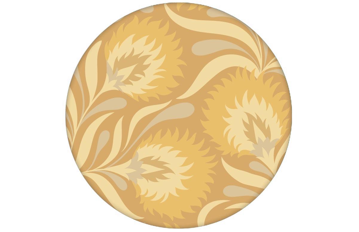 Jugendstil Blumen Tapete mit großen Blüten in gelb Vliestapete für Wohnzimmeraus dem GMM-BERLIN.com Sortiment: beige Tapete zur Raumgestaltung: #blueten #blumen #FarrowandBall #gelb #Jugendstil #tapete für individuelles Interiordesign