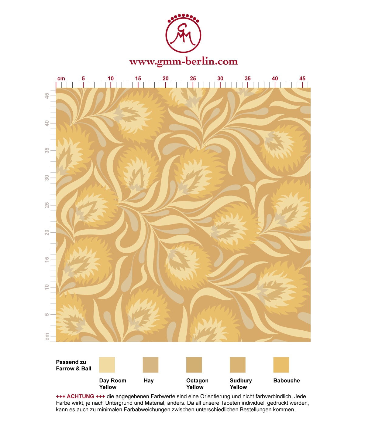 Jugendstil Tapete mit großen Blüten in gelb angepasst an Farrow & Ball Wandfarben. Aus dem GMM-BERLIN.com Sortiment: Schöne Tapeten in creme Farbe