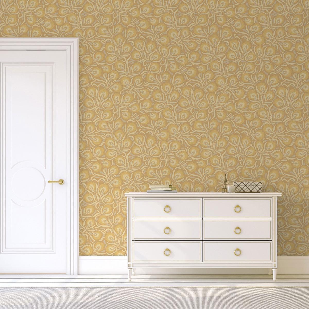 Wohnzimmer Tapete creme: Jugendstil Tapete mit großen Blüten in gelb angepasst an Farrow & Ball Wandfarben- Vliestapete Blumen