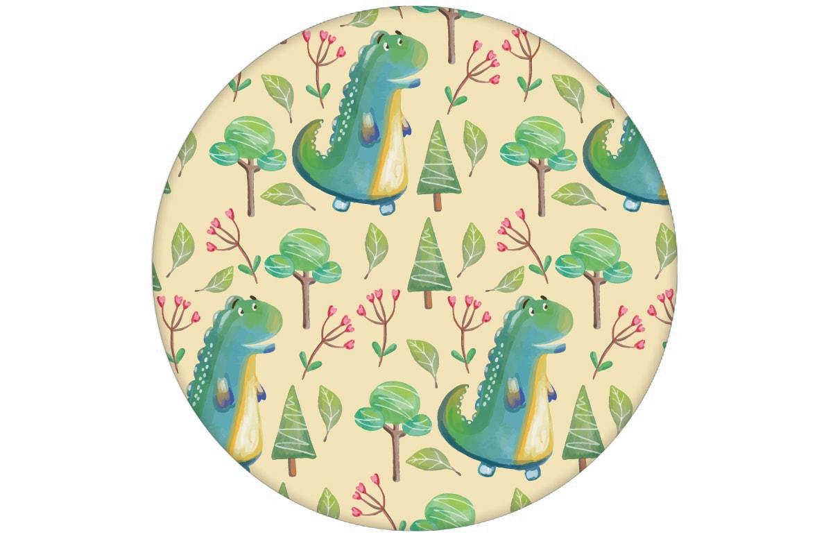 """""""Im Zauberwald"""" - lustige Kindertapete mit kleinen Drachen auf gelb Vliestapete Kinderzimmeraus dem GMM-BERLIN.com Sortiment: gelbe Tapete zur Raumgestaltung: #Dinosaurier #Drache #gelb #Little Greene #tapete #Wald für individuelles Interiordesign"""