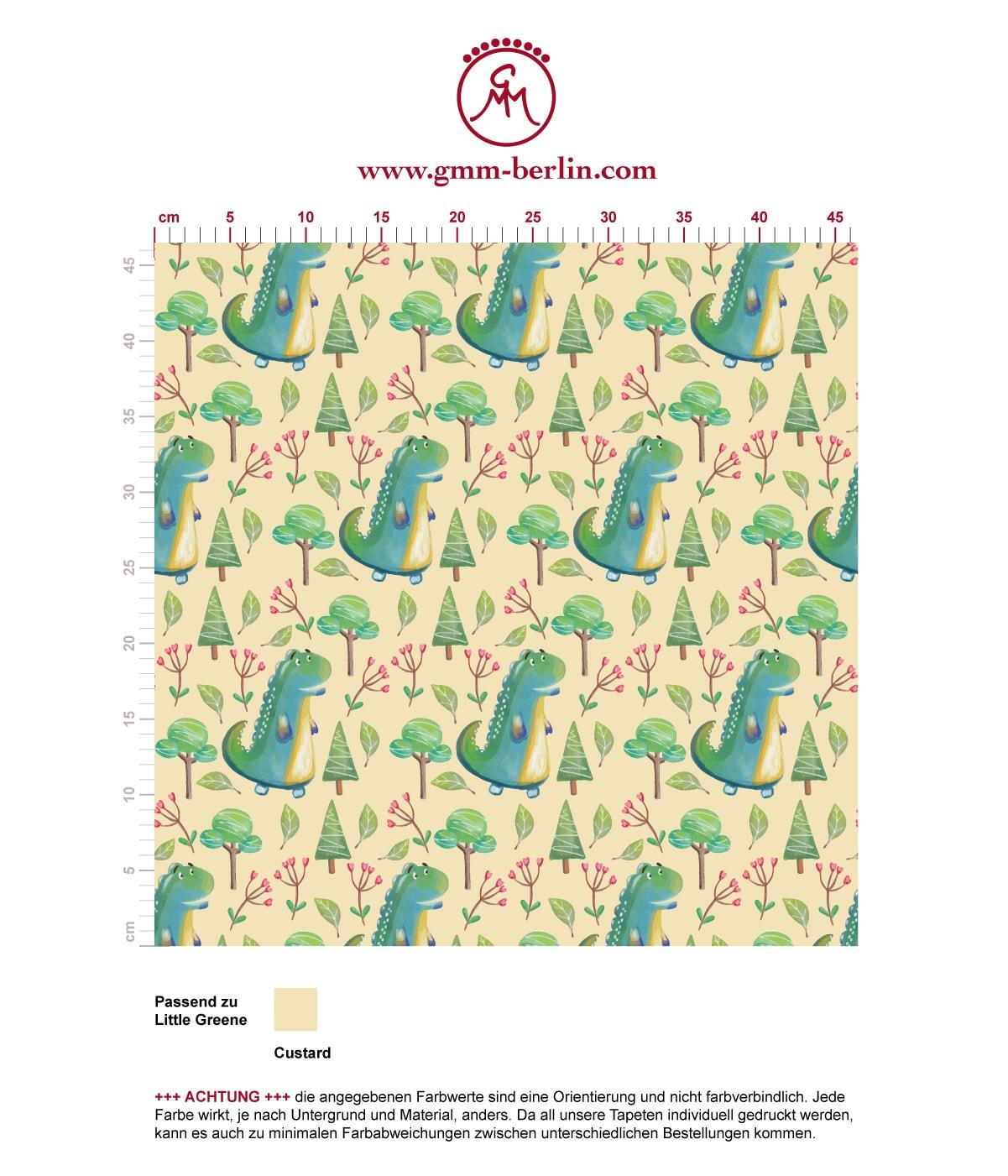 """""""Im Zauberwald"""" - lustige Kinder Tapete mit kleinen Drachen auf gelb angepasst an Little Greene Wandfarben. Aus dem GMM-BERLIN.com Sortiment: Schöne Tapeten in der Farbe: gelb"""