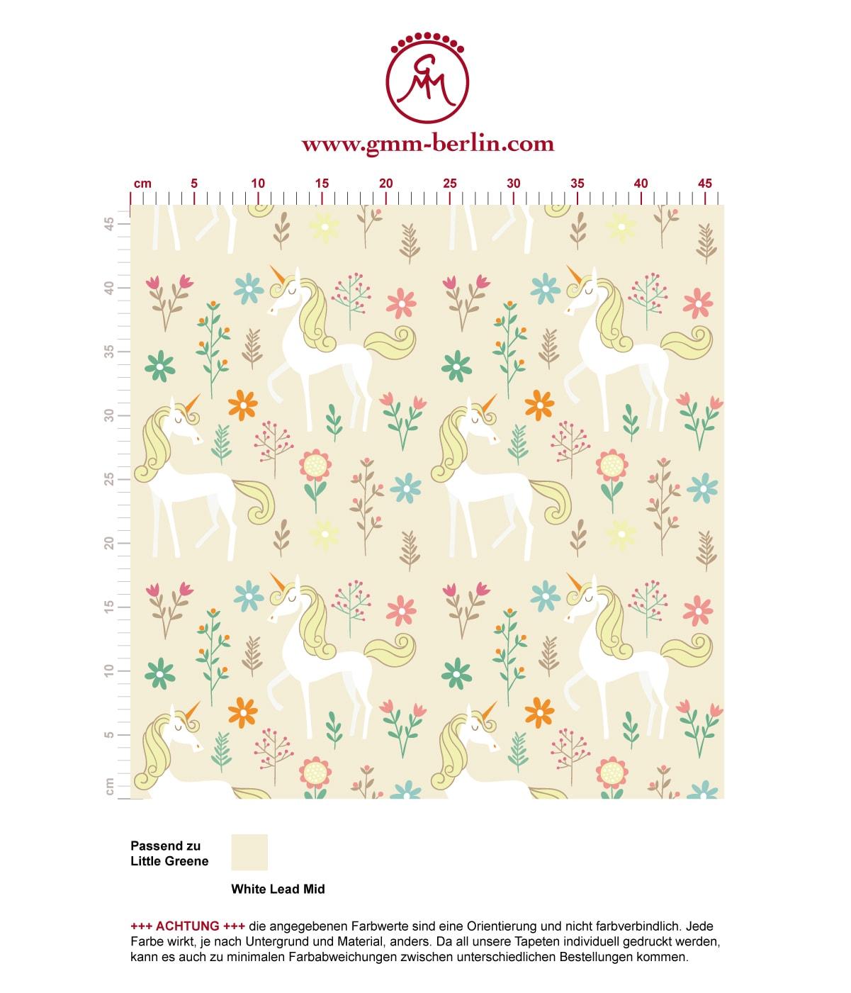 Klassische Kinder Tapete mit magischem Einhorn zum Träumen auf beige angepasst an Little Greene Wandfarben. Aus dem GMM-BERLIN.com Sortiment: Schöne Tapeten in creme Farbe