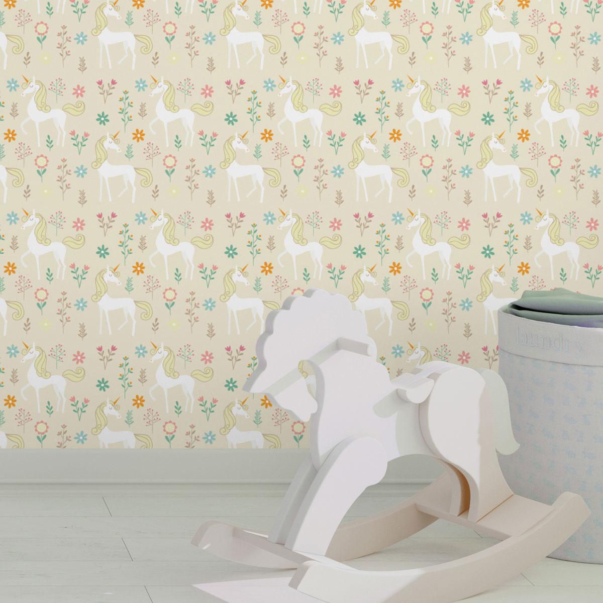 Wandtapete creme: Klassische Kinder Tapete mit magischem Einhorn zum Träumen auf beige angepasst an Little Greene Wandfarben- Vliestapete Tiere