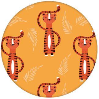 Trendige Kinderzimmer Design Tapete mit lustigem Sieger Tiger auf gelb Vliestapete Tiere Jugendzimmer