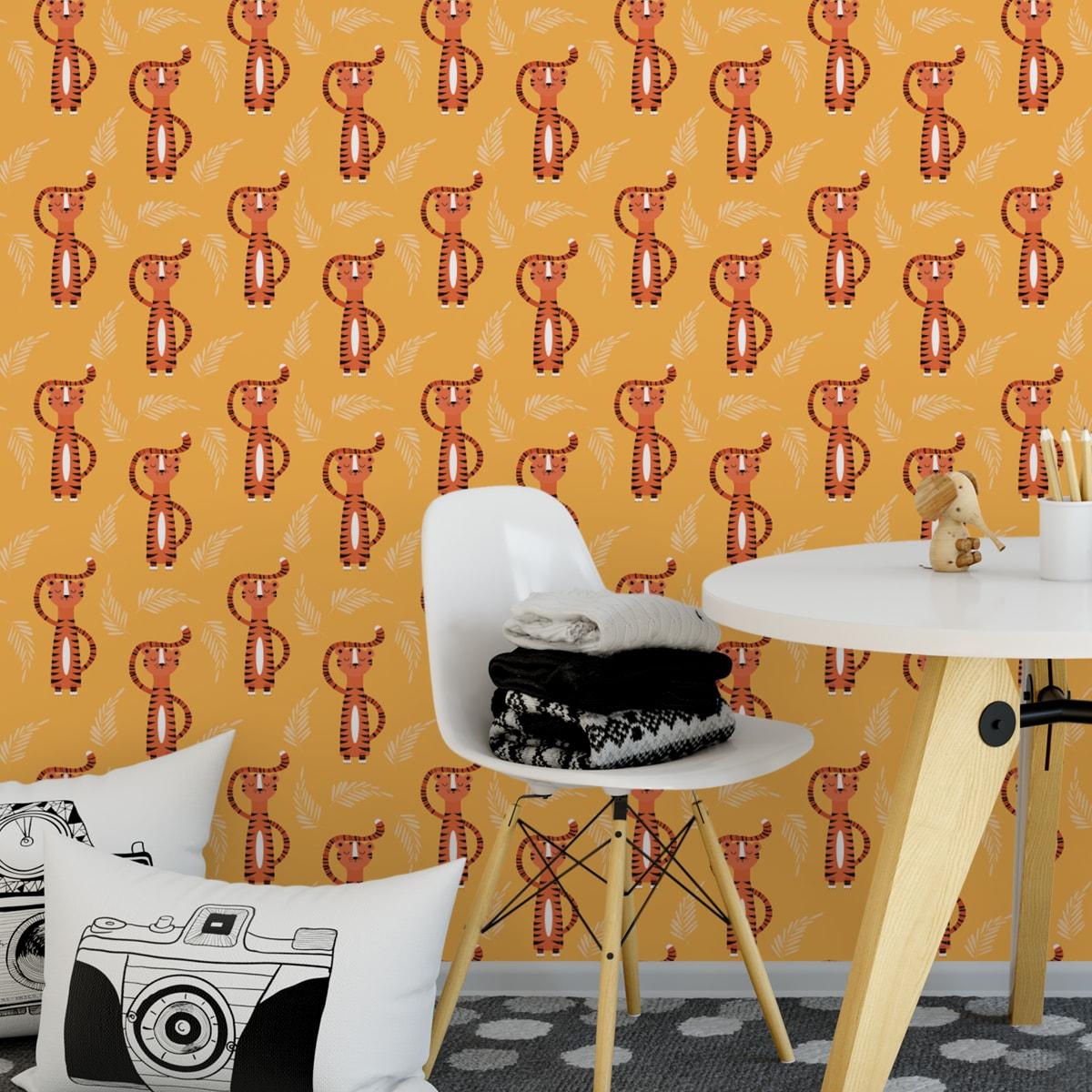 Trendige Kinder Jugend Tapete mit lustigem Sieger Tiger auf gelb angepasst an Ikea Wandfarben- Vliestapete Tiere  1