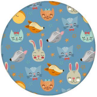 """Hellblaue Kindertapete """"Space Animals"""" mit Katzen, Hasen, Hunden und Sternen auf hellblau Vliestapete Jugendzimmer"""
