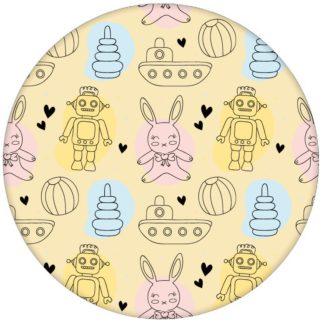 """Tolle Jugend Kindertapete """"Toy Zone"""" mit lustigem Spielzeug und Robotern auf gelb Vliestapete Kinderzimmeraus dem GMM-BERLIN.com Sortiment: gelbe Tapete zur Raumgestaltung: #gelb #hase #Little Greene #spielzeug #tapete #tiere für individuelles Interiordesign"""