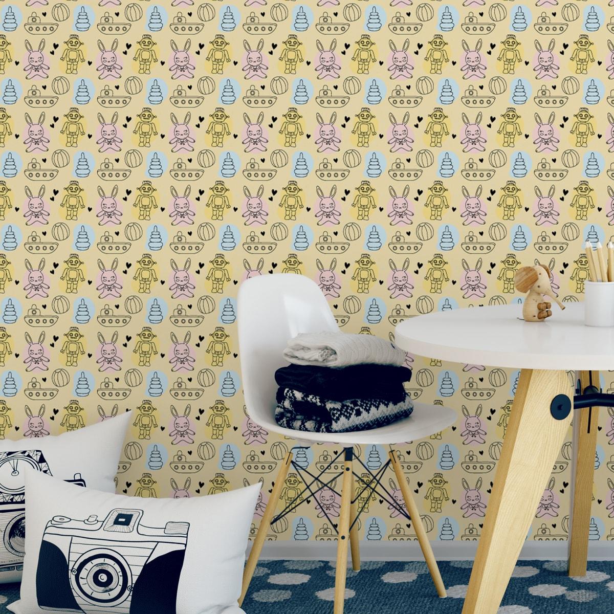 """Tolle Kinder Jugend Tapete """"Toy Zone"""" mit lustigem Spielzeug und Robotern auf gelb angepasst an Little Greene Wandfarben- Vliestapete Tiere"""
