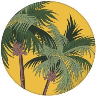 """Sonnige, üppige Strand Design Tapete """"im Palmenhain"""" mit großen Palmen auf gelb Vliestapete Schlafzimmer aus den Tapeten Neuheiten Blumentapeten und Borten als Naturaltouch Luxus Vliestapete oder Basic Vliestapete"""