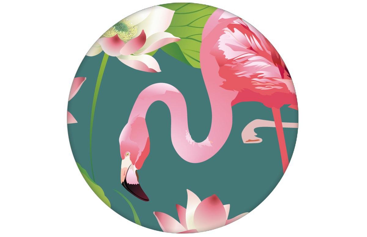 """Türkise, extravagante, exotische Tapete """"Flamingo Pool"""" mit Seerosen angepasst an Little Greene Wandfarben- Vliestapete Tiere, Blumen"""