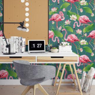 """Wandtapete grün blau: Türkise, extravagante, exotische Tapete """"Flamingo Pool"""" mit Seerosen angepasst an Little Greene Wandfarben- Vliestapete Tiere, Blumen"""