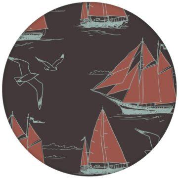 """Edle Segler Tapete """"Die Regatta"""" mit Klassik Segelbooten und Möwen auf braun Vliestapete maritim"""
