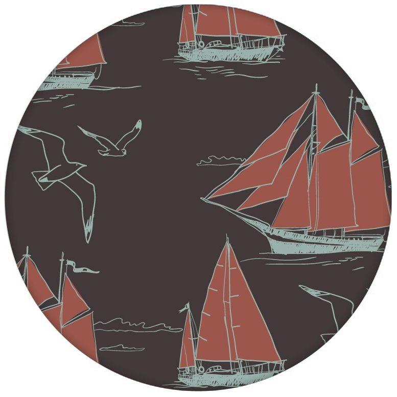 """Edle Segler Tapete """"Die Regatta"""" mit Klassik Segelbooten und Möwen auf braun Vliestapete maritim aus den Tapeten Neuheiten Borten und Tapetenmotive als Naturaltouch Luxus Vliestapete oder Basic Vliestapete"""