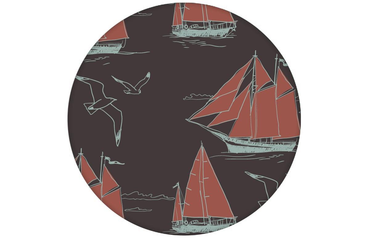 """Edle Segler Tapete """"Die Regatta"""" mit Klassiker Segelbooten und Möwen auf braun angepasst an Farrow and Ball Wandfarben- Vliestapete Tiere, Kinder"""