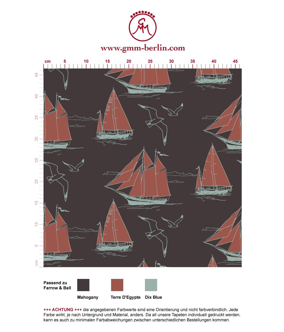 """Edle Segler Tapete """"Die Regatta"""" mit Klassiker Segelbooten und Möwen auf braun angepasst an Farrow and Ball Wandfarben. Aus dem GMM-BERLIN.com Sortiment: Schöne Tapeten in der Farbe: dunkel braun"""