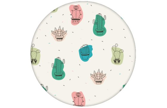 """""""Wüstenzauber"""" Lustige Design Tapete mit bunten Kakteen Wandgestaltung Kaktus Vliestapete Blumen"""
