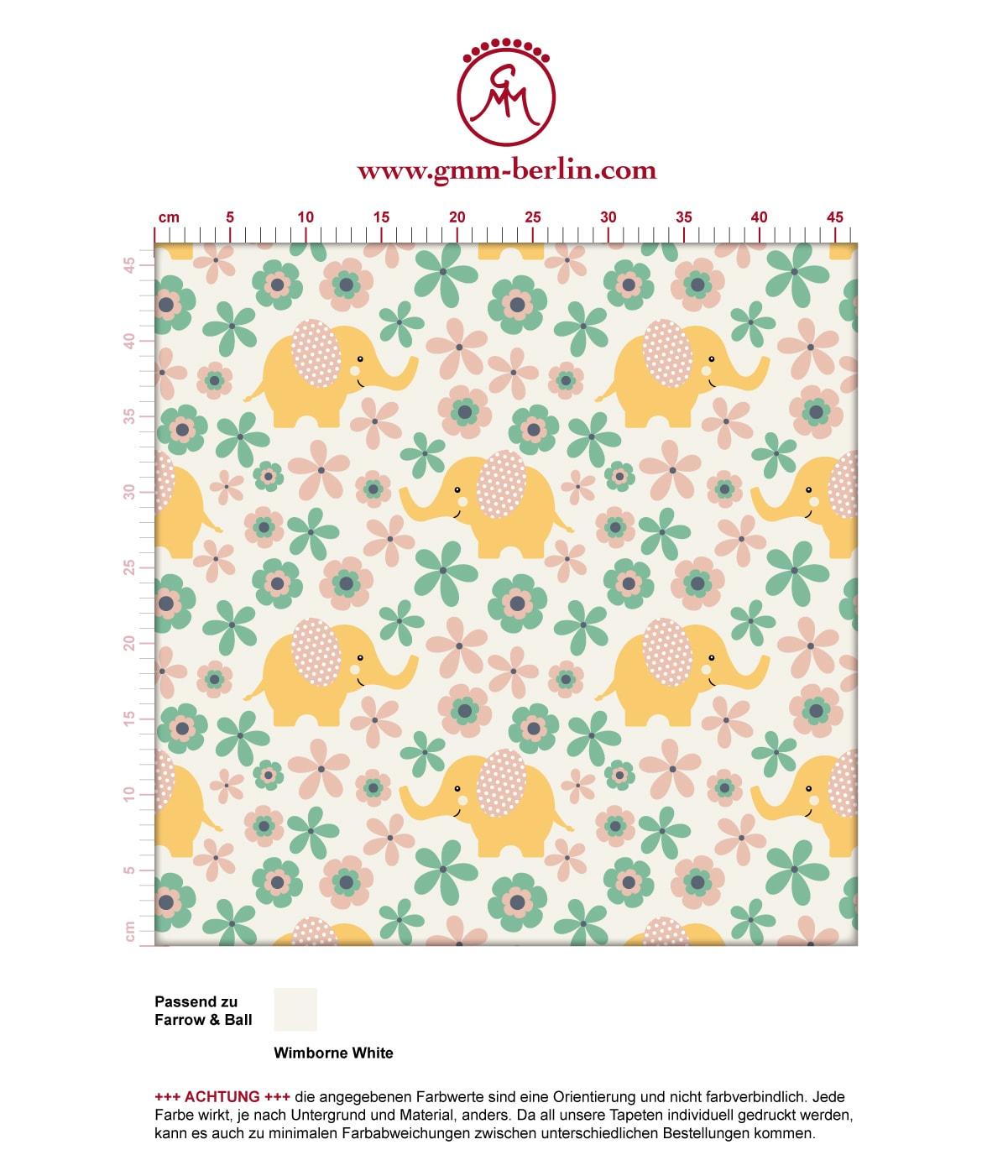 """""""Elephant Power""""  - Süße Kinder Baby Tapete mit Blumen und Elefanten im 70er Jahre Stil in gelb angepasst an Farrow and Ball Wandfarben- Vliestapete Tiere  3"""