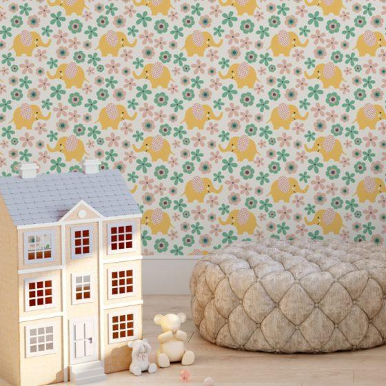 """""""Elephant Power""""  - Süße Kinder Baby Tapete mit Blumen und Elefanten im 70er Jahre Stil in gelb angepasst an Farrow and Ball Wandfarben- Vliestapete Tiere"""