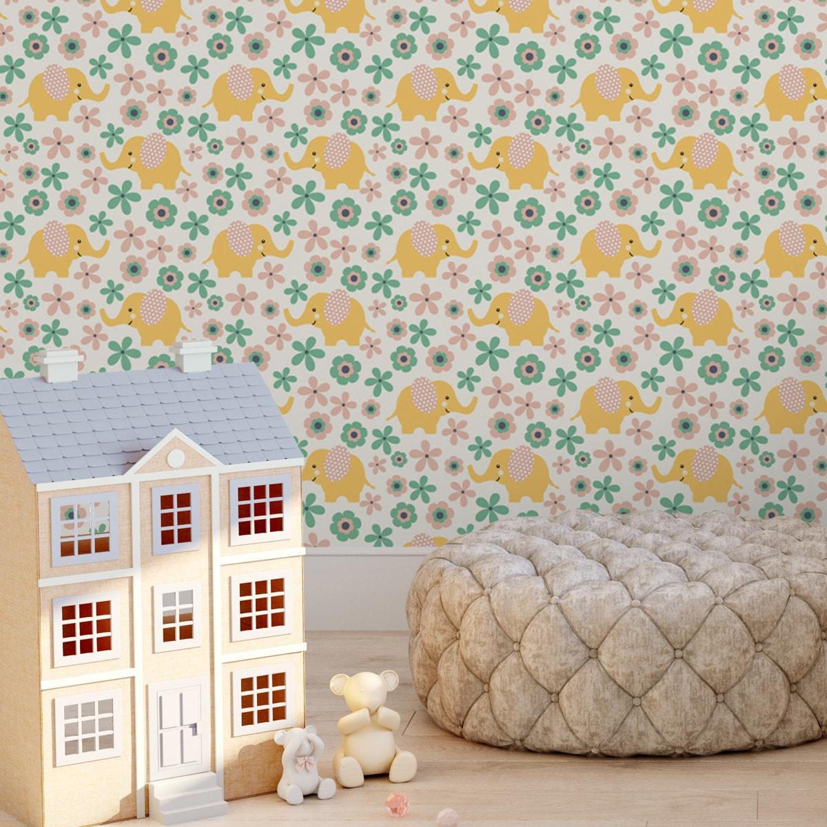 """Wandtapete creme: """"Elephant Power""""  - Süße Kinder Baby Tapete mit Blumen und Elefanten im 70er Jahre Stil in gelb angepasst an Farrow and Ball Wandfarben- Vliestapete Tiere"""