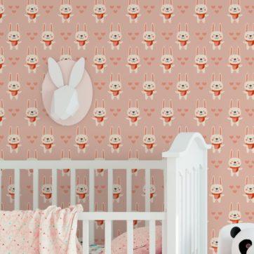"""Rosa Kinder Jugend Tapete """"Häschen Klein"""" mit Hasen und Herzen angepasst an Little Greene Wandfarben- Vliestapete Tiere"""