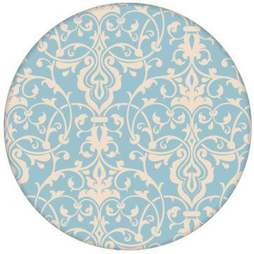 Hellblaue Ornament Tapete mit klassischem Damast Muster Vliestapete für Küche