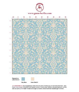 Hellblaue, dezent üppige Tapete mit klassischem Damast Muster angepasst an Little Greene Wandfarben- Vliestapete Ornamente