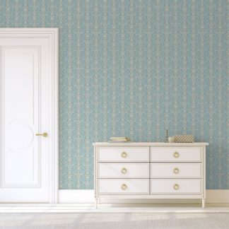 Wandtapete creme: Hellblaue, dezent üppige Tapete mit klassischem Damast Muster angepasst an Little Greene Wandfarben- Vliestapete Ornamente