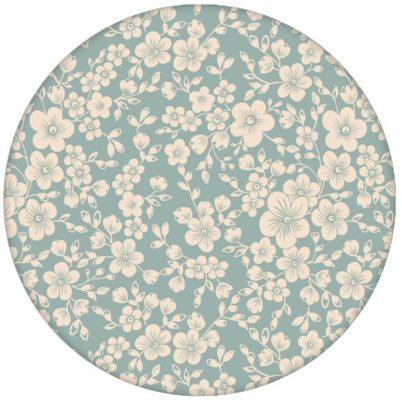 """Florale Tapete """"Spring in Japan"""" mit zauberhaften Kirsch Blüten auf hellblau für Schlafzimmer Küche"""