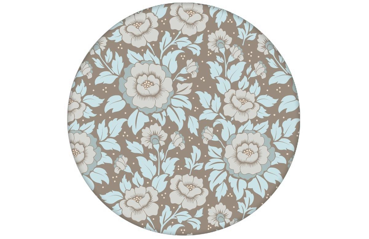 """Schöne florale Tapete """"Mein Rosengarten"""" mit Rosen Blüten in hellblau angepasst an Little Greene Wandfarben- Vliestapete Blumen"""