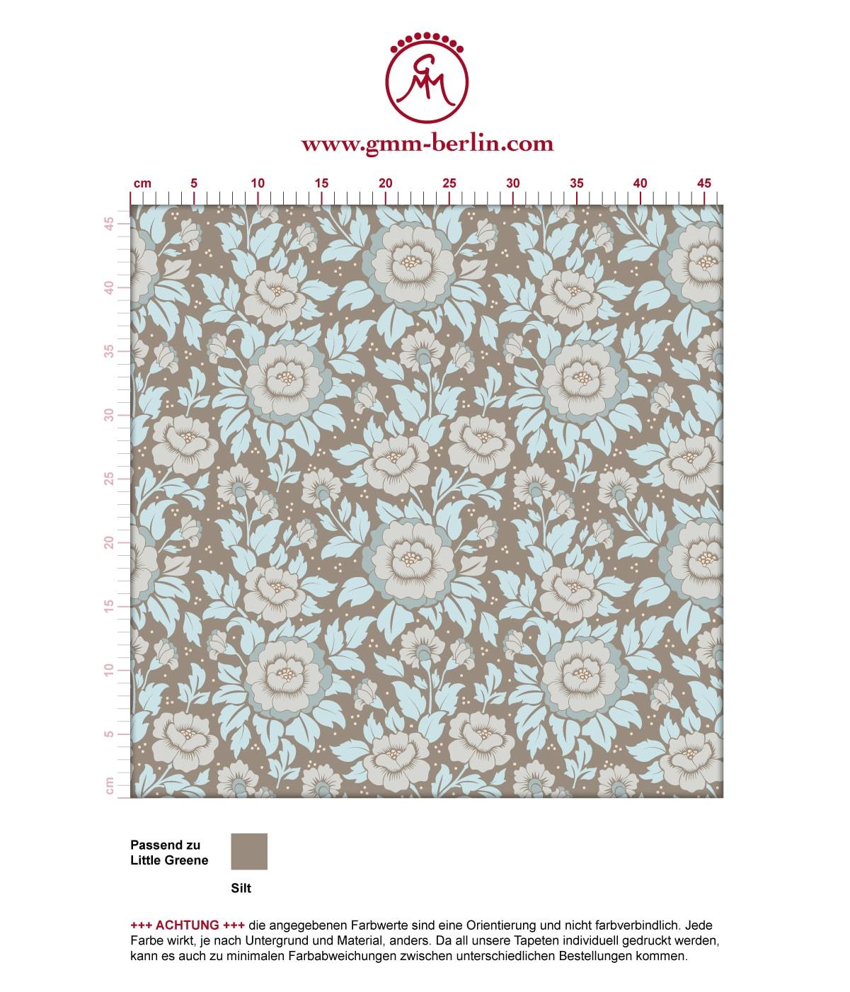 """Schöne florale Tapete """"Mein Rosengarten"""" mit Rosen Blüten in hellblau angepasst an Little Greene Wandfarben- Vliestapete Blumen  3"""